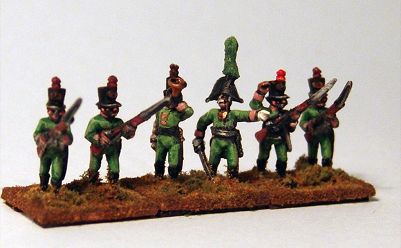 Jägers in 1805 uniform - Distinctive shakos and pale green cloth.