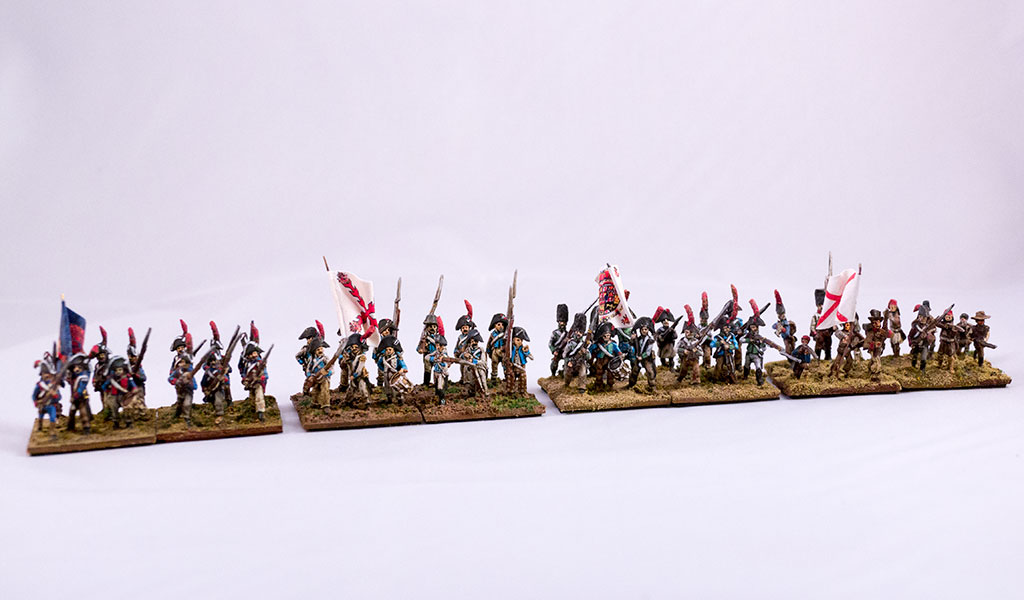 Left to right: Guards, Regular infantry, Tired and worn infantry, Freshly raised troops