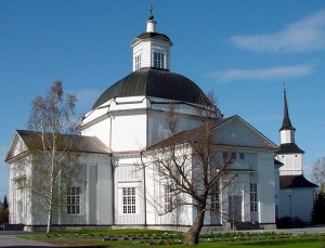 The real Church of Lapua with the bell tower behind it