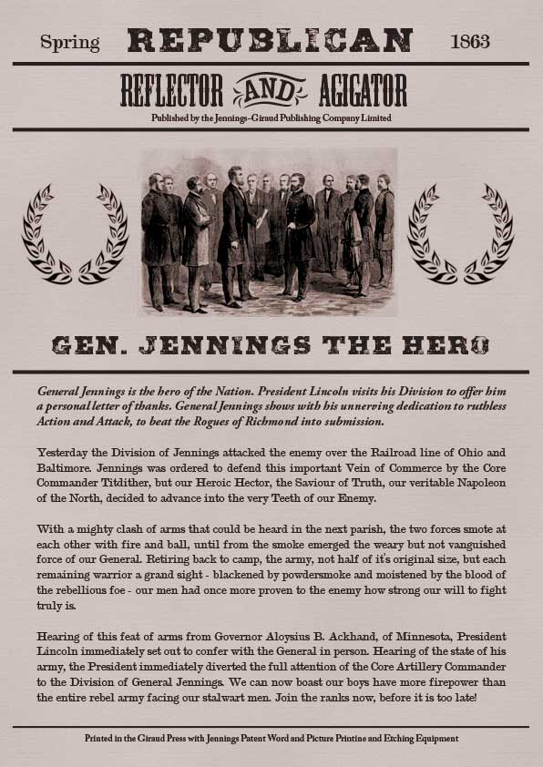 General Jennings failed to defend the Ohio-Baltimore railroad.